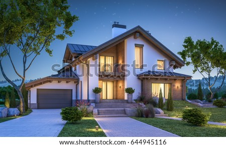 3d rendering modern cozy house chalet stock illustration for Chalet style homes with attached garage