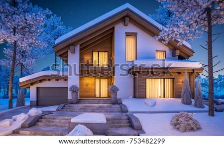 3d rendering modern cozy house chalet stock illustration 753482299 shutterstock - Moderner chalet stil ...