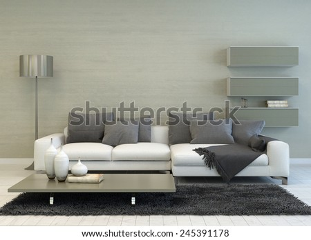 3D Rendering of Modern Grey and White Living Room with Floor Lamp, Sofa, Coffee Table, and Floating Shelves - stock photo