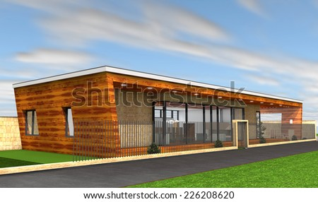 3D rendering of modern house - stock photo