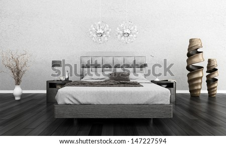 3D rendering of modern interior - stock photo