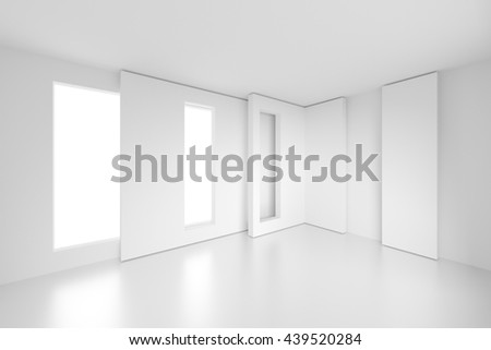 3d Rendering of Modern Interior Background. White Empty Room with Window. Abstract Architecture Design