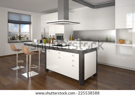 3d rendering of modern kitchen - shot 3 - stock photo