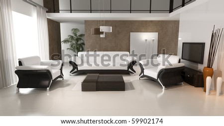 3d rendering of modern living room interior - stock photo