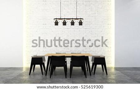 loft dining room furniture. 3d rendering of modern loft dining room design furniture