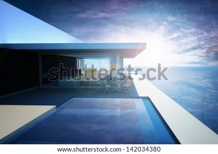 3d rendering of Modern Luxury Apartment with Infinity Pool - stock photo