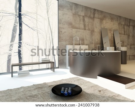 3D Rendering of Modern luxury bathroom interior in beige and brown with a circular freestanding bathtub and matching hand basins against a travertine tiled wall with a large sunny view window - stock photo