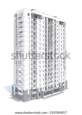 3d rendering of modern multi-storey residential building isolated on white