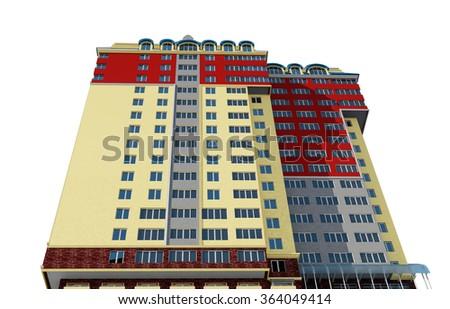 3d rendering of modern multi-storey residential building on white, bottom view - stock photo