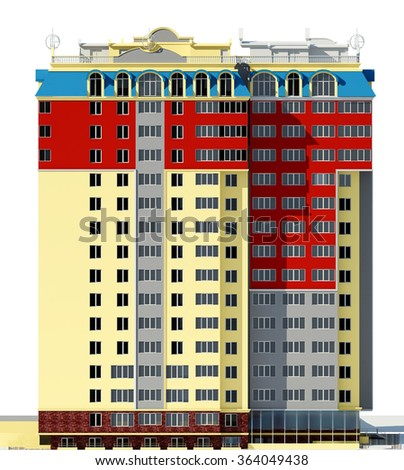 3d rendering of modern multi-storey residential building on white, frontal view - stock photo