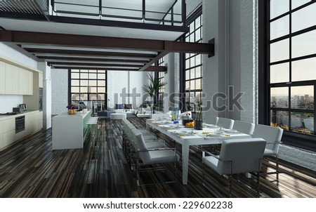 3D Rendering of Modern open-plan dining room kitchen interior with a large table with formal place settings in a long room with feature windows, a mezzanine and fitted kitchen appliances and counter - stock photo
