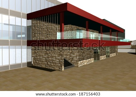 3D rendering of modern shopping mall, entrance view