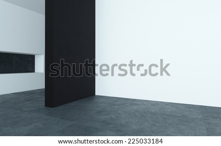 3D Rendering of Modern style empty room interior with black and white walls and dark stone floor