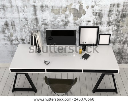 3D Rendering of Modern stylish black and white desk in an office interior with a desktop computer, office supplies and blank picture frames against a wall with abstract grey pattern, high angle view - stock photo