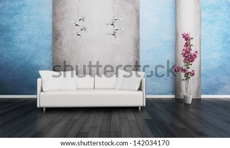 3d rendering of Modern white couch in front of blue and grey wall - stock photo