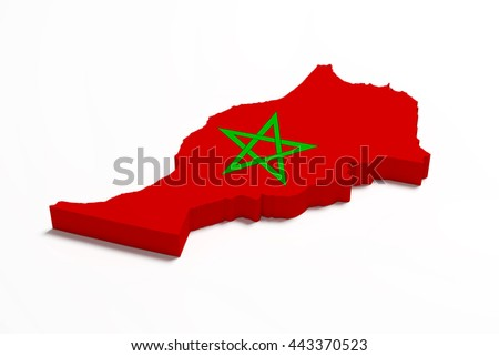 3d rendering of Morocco map and flag.