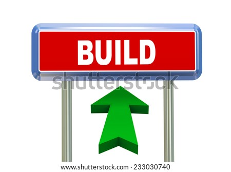 3d rendering of moving arrow and roadsign signpost of concept of build - stock photo