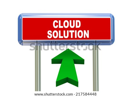 3d rendering of moving arrow and roadsign singpost of of concept of cloud solution - stock photo