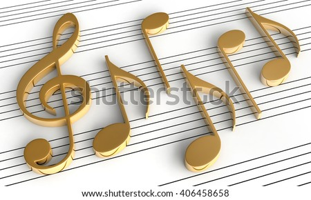 3d rendering of music notes on staff background - stock photo