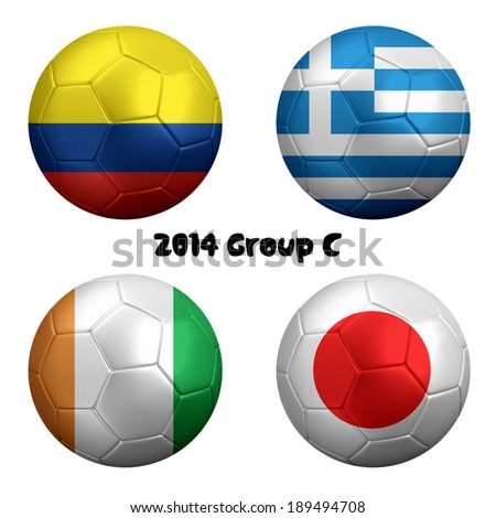 3D rendering of national flag on ball for Soccer Championship 2014, Brazil. Group C. Colombia, Greece, Ivory Coast, Japan.