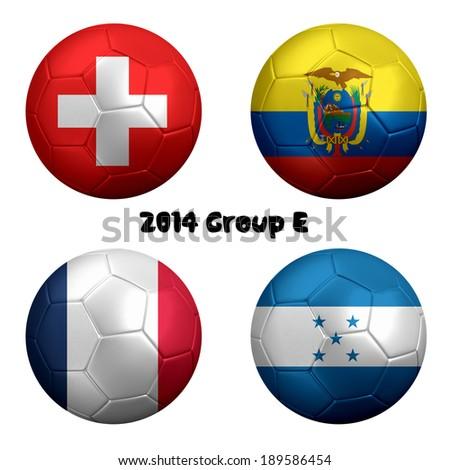 3D rendering of national flag on ball for Soccer Championship 2014, Brazil. Group E. Switzerland, Ecuador, France, Honduras - stock photo