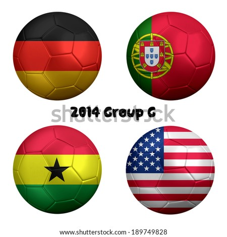 3D rendering of national flag on ball for Soccer Championship 2014 in Brazil. Group G. Germany, Portugal, Ghana, USA - stock photo