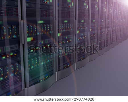3d rendering of night vision of rows of powerful computer network servers system machine - stock photo