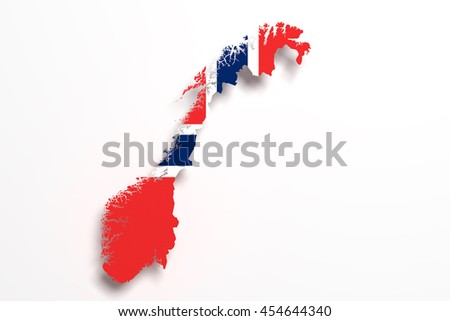 3d rendering of Norway map and flag on white background.