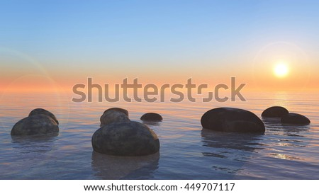 3D rendering of  ocean scene for use at background.