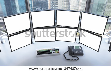 3D rendering of office with blank monitors, processing data for trading, window at the background, singapore - stock photo