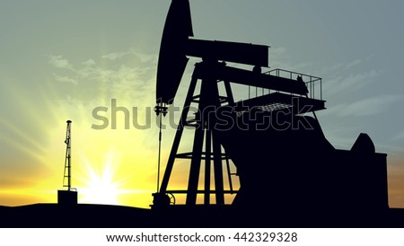 3D rendering of Oil pump oil rig energy industrial machine for petroleum in the sunset