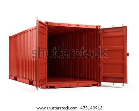3d rendering of Open Red cargo shipping container against a white background