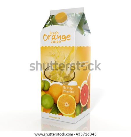 3D rendering of  Orange Juice paper packaging, isolated on white background.