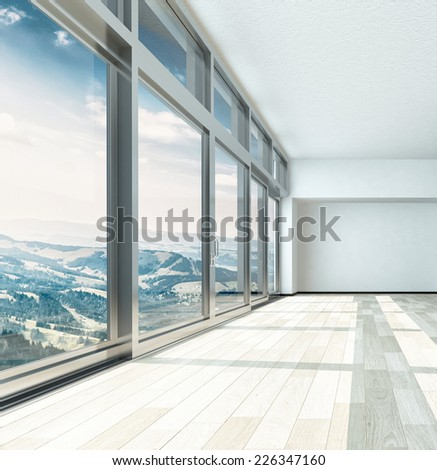 3D Rendering of Overlooking View From Large Building Glass Windows on Metal Frames. Captured in an Empty Room. - stock photo
