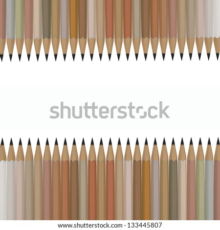 3D Rendering of pastel pencils, isolated on the white background
