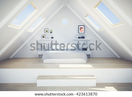 3d rendering of penthouse - stock photo
