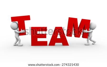 3d rendering of people completing word text team. 3d white person people man