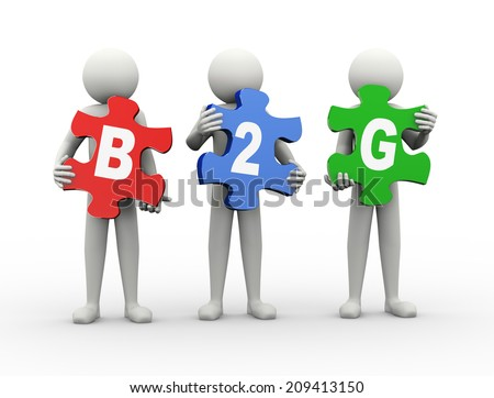 3d rendering of people holding puzzle pieces of b2g - business to government. 3d white people man character - stock photo