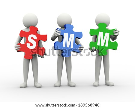 3d rendering of people holding puzzle pieces of sem -  search engine marketing. 3d white people man character. - stock photo