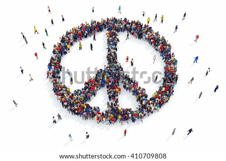 3D rendering of people peace - stock photo