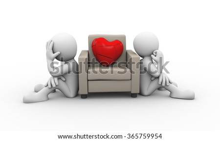 3d rendering of people sitting and large broken heart on sofa. Family problem, conflict dispute - stock photo