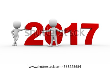 3d rendering of people welcome new year 2017. 3d white person people man - stock photo