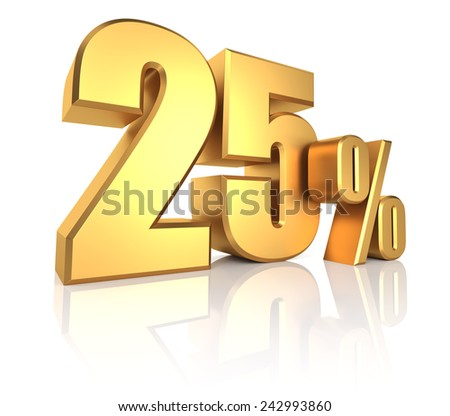 3D rendering of 25 percent in gold metal letters on white background with shadow