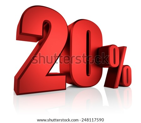 3D rendering of 20 percent in red letters on white background  - stock photo