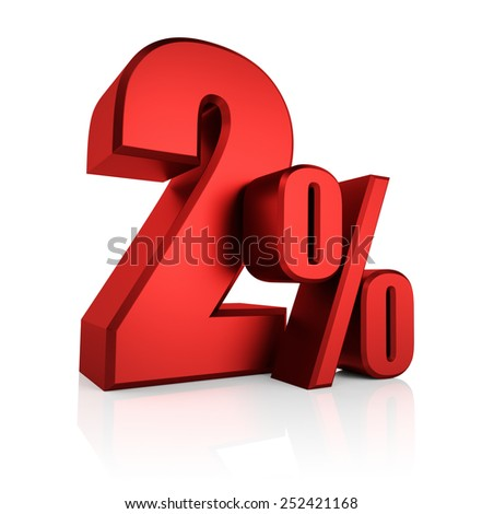 3D rendering of 2 percent in red letters on white background  - stock photo
