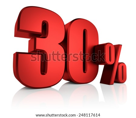 3D rendering of 30 percent in red letters on white background with shadow - stock photo