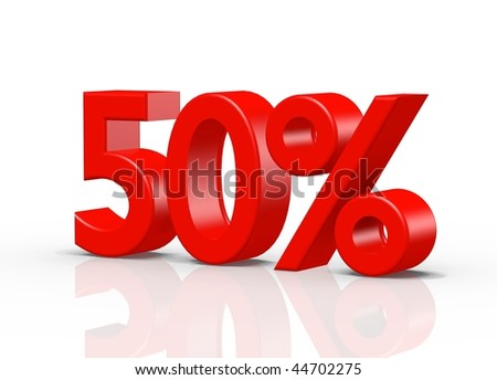 3D rendering of 50 percent on white background