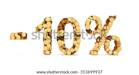3d rendering of 10 percent price cut off. Golden discount coins letters isolated on white background