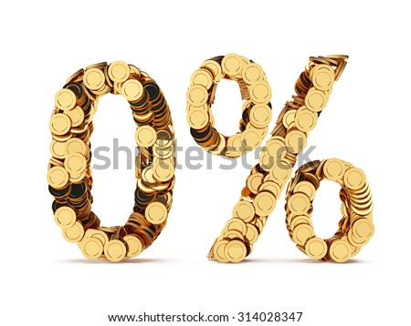 3d rendering of 0 percent price cut off. Golden discount coins letters isolated on white background