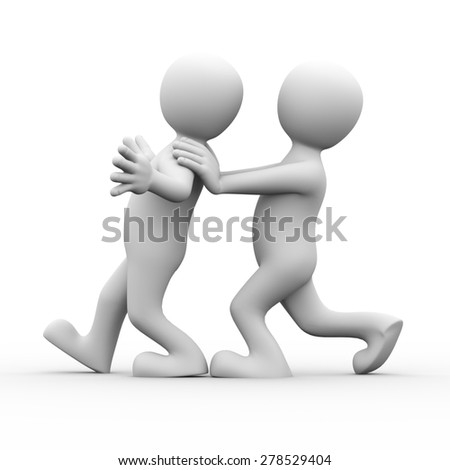 3d rendering of person pushing his friends for encouragement.  Concept of friendship, help, support, love. 3d white person people man. - stock photo